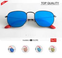 Wholesale Hexagon Mirrors - Luxury Hexagon Sunglasses Women 2018 Design Metal Glass Lens Eyewear Female Vintage Sunglasses Men Shades Mirror UV400 gradient square 3548
