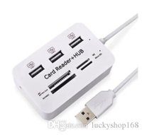 Wholesale micro usb splitter - High Quality New Micro USB Hub Combo 2.0 3 Ports Card Reader High Speed Multi USB Splitter Hub USB Combo All In One for PC Computer DHL