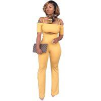 ingrosso vestito del corpo delle donne sexy-Tuta da collo 2 pezzi abbigliamento donna manica corta crop top e pantaloni tuta da donna sexy per il tempo libero body body tuta