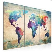 pintura a óleo do mapa mundial venda por atacado-ENORME MODERNO ABSTRATO DECORAÇÃO DA PAREDE ARTE ÓLEO PINTURA EM LONA sem moldura Mapa Do Mundo Para Sala de estar
