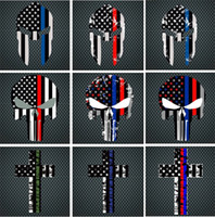 Wholesale wall decal cars trucks - Blue Line Flag Decal - 10*15 CM American Flag skull head Sticker for Cars and Trucks - Wall Window Stickers Decorative Stickers I241