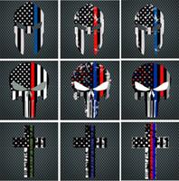 fenêtre drapeau pour la voiture achat en gros de-Blue Line Flag Decal - 10 * 15 cm drapeau américain autocollant tête de mort pour voitures et camions - Stickers vitres murales Stickers décoratifs I241