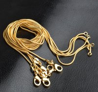 Wholesale Gold Snake Chain 1mm - Top Quality Factory Price 1mm 18K Gold Plated Snake Chain Necklaces Jewelry 16in 18in 20in 22in 24in 26in 28in 30in