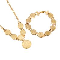 joyas de boda del medio oriente al por mayor-Moneda de oro colgante collar con pulsera árabe Oriente Medio antiguo monedas joyería india boda pulsera