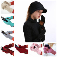 Wholesale CC Touch Screen Gloves Colors Winter Knitted Gloves Fashion Stretch Woolen Knit Warm Full Finger Outdoor Sports Mittens pairs OOA5862