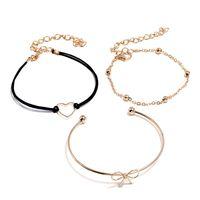 herz gewebte legierung großhandel-Neue Mode Herzform Bogen 3 Stück Set gewebt Armband Frauen Gold Legierung Schmuck Großhandel