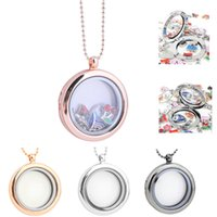 Wholesale floating glass charms resale online - Mix Colors mm Round Magnetic Floating Locket Glass Photo Living Charm Memory Locket Diffuser With Free Cm Chain