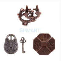 Discount puzzle toy set - 3pcs Vintage Metal Brain Teasers Set Classic Lock Puzzle IQ Training Toy for Kids
