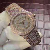 pavimentar relógios venda por atacado-Senhoras Relógios Mulheres Relógio Automático Cal.324SC Miyota Rose Gold Pave Diamante Dial Bezel Bracelet Nautilus 7021 Data Eta Mulheres Relógios De Pulso