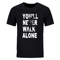 Wholesale Shorts Casual Walk Men S - New Summer Fashion Men's short sleeve t-shirt you will never walk alone printed cotton casual crew neck tops tees DIY-0211D