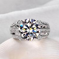 профессиональные подарки для женщин оптовых-Оптовая профессиональный ручной пасьянс стерлингового серебра 925 белый сапфир имитация Алмаз CZ свадьба женщины кольцо подарок размер 5-11