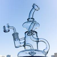 клеевая стеклянная буровая установка оптовых-Новые Klein Tornado Percolator Glass Bong 8-дюймовый Recycler Водопроводные трубы 14 мм Женский Суставные Нефтяные Установки с Кварцевым Banger или Чаша HR024