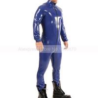 vêtements en caoutchouc pour hommes achat en gros de-Catsuit Homme Latex Bleu Foncé Avec Body Zippé En Zinc Sur Le Corps, Club Wear S-LCM115