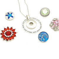 Wholesale 18mm Letters - Noosa hot 18mm Round snap button Pendant HOPE TRUST DREAM LOVE letters circle Necklace Leather Chain Necklaces Trendy Jewelry