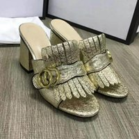 Wholesale chunky heel slingback shoes - Women Beach Leather Slippers Slingback Shoes High-heeled Pumps Designer Summer Women Open Toe Sandals size35-40