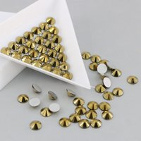 Wholesale 3d Christmas Nail Designs - All Sizes Non Hotfix Rhinestones Flatback Glass Strass 3D Nails Decorations For Nail Art Designs (Ore Gold)