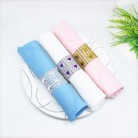 Wholesale bling napkin holders online - Rhinestone Mesh Bling Napkin Rings for Wedding Decoration Plastic Chair Sash Bows Napkin Holder Gold Silver Purple