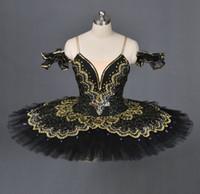 chicas trajes de baile de oro al por mayor-Tutú de ballet clásico de cisne negro para adultos dorado, tutú de ballet profesional rojo para niñas, traje de ballet negro vestido de baile de rendimiento para mujer
