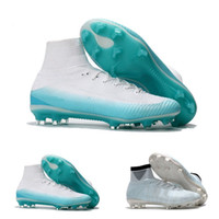Wholesale purple soccer cleats resale online - Original Black CR7 Football Boots Mercurial Superfly V FG Soccer Shoes C Ronaldo Top Quality Silver Mens Soccer Cleats