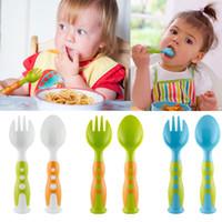 Wholesale kids kitchen utensils resale online - 2 Piece Fork And Spoon Set PP Safety Friendly Tableware Dinnerware Tools For Kids Kitchen Utensil Set WX9