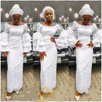 nigerianische weiße spitze prom kleider großhandel-White Nigerian Lace Styles 2019 afrikanische Meerjungfrau Abendkleider Party Wear knöchellangen schwarzen Mädchen mit langen Ärmeln Tiered Backless