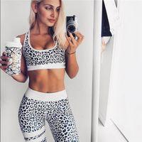 ingrosso vestito di leopardo caldo-Leopard Print Tuta da donna Fitness Sport Suit Sport Reggiseni Leggings Calzino 2 pezzi Running Sportsuit 2017 Set Yoga Hot
