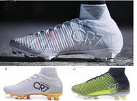 93feba940 2017 New men Cristiano Ronaldo Mercurial Superfly Iv FG CR7 501 Boot White  Golden Soccer Shoes cr7 Chapter 5 mens Training Sneakers Cleats
