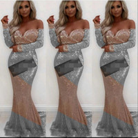 karışık renkli gece elbiseleri toptan satış-Mix Renk Payetli Gelinlik Modelleri Seksi Kapalı Omuz Uzun Kollu Abiye giyim Gül Altın Ve Gümüş Mermaid Kokteyl Örgün Parti Elbise Ucuz