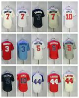Wholesale Hank Aaron Baseball - Men's Jersey 5 Freddie Freeman 3 Dale Murphy 7 Dansby Swanson 10 Chipper Jones 44 Hank Aaron Baseball Jerseys