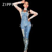 ingrosso abito luminoso-Pietre luminose Jeans stampati Tuta Pietre Skinny Leggings Nightclub Visualizza Festa di compleanno per donna Prom DS Outfit Stage Wear