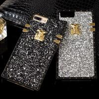 funda de celular de strass al por mayor-Elegante caja del teléfono Bling Glitter para IPhone X 8 8plus 7 7 más 6 6s más cubierta del teléfono móvil de la textura TPU de plástico del estilo del Rhinestone