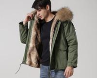 Wholesale white fur trim for coats for sale - Group buy MEIFENG brand brown fur trim men mini parkas khaki rabbit fur lining army green canvas jackets short style men coats for snow weather