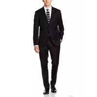 en yaka gelinlik toptan satış-Damadın en iyi erkek düğün elbise şal yaka suç iki düğmeli beyefendi akşam yemeği parti giyim (ceket + pantolon + yelek) klasik siyah takım elbise