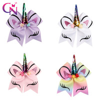 Wholesale wholesale bow clips - Princess Unicorn Cheer Bow With Ponyrtail Holder Ribbon Hair Bow With Clip Fabric Cheerleading Bows Girl Hair Accessories