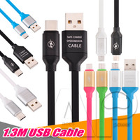 Wholesale colorful galaxy - USB For Samsung Cable Micro V8 Data Line 1.3M Colorful Pass Fast Charger Cables For Samsung Galaxy S8 Plus HTC With Package