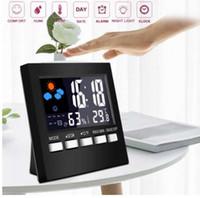 yeni lcd takvim saati toptan satış-Yeni Dijital Göster Termometre Nem Saat Renkli LCD Alarm Takvim Hava Masa Saatleri