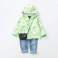 Wholesale Korean Zipper Jackets Hoodies - Everweekend Kids Girls Spring New Print Bird Zipper Korean Coats Hooded Hoodie Children Jackets Fashion Outwears