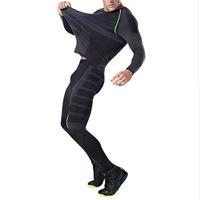 spor tişört tişörtleri toptan satış-Erkekler Kuru Fit Sıkıştırma Eşofman Spor Sıkı Koşu Set T-shirt Legging erkek Spor Demix Siyah Gym Spor Suit