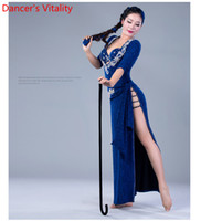 09928672e111 Slap-up Lady Belly Indian Oriental Dance Dress Headband Hip Scarf  Underpants Diamond Suit Performance Competition Costume Women Belly Outfit