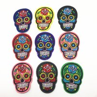 Wholesale Skulls Stickers - 15pcs Mixed Skull Clothes Patch DIY Skeleton Embroidered Patches Iron On Fabric Badges Sew On Cloth Stickers