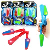 Wholesale Led Light Spinning Toys - LED Flip Finz Relief Toys Flip Finz Stress Reliever Light Up Butterfly Flipper Finger Hand EDC Toys Training Focus Spin AAA165