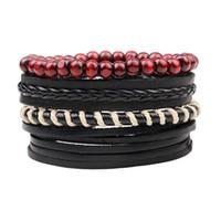 ayarlanabilir deri kord bezler toptan satış-4 adet / takım Boho Çingene Hippi Punk Siyah Deri Bej Kordon Sarma Knot Kırmızı Ahşap Boncuk Katmanlar Ayarlanabilir Bilezik Adam için Set