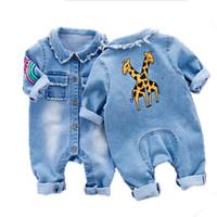 vaqueros de moda para bebés al por mayor-Denim suave mameluco del bebé graffiti gato ropa infantil mono recién nacido bebés niño niñas traje vaquero jeans de moda niños