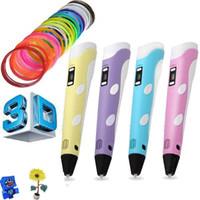 modelagem de arte venda por atacado-Impressão 3D Impressão Desenho Pen Crafting Modelagem ABS / PLA Filament Artes Impressora Doodle Impressora + Cor Filamento DDA655