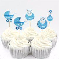 bebek duş pastaları cupcakes toptan satış-Bebek Vagon Parti cupcake yonca çocuklar için Doğum Günü partisi dekorasyon alır Bebek Duş Kek Dekorasyon malzemeleri 108 adet / grup yanadır