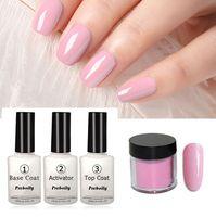 ingrosso caldo immerso-Colori caldi 4 in 1 colori rosa nudi luminosi Kit di utensili per immersione Set 10 g / scatola 16ml Base Top Coat Activator Dip Polveri Nails Colore