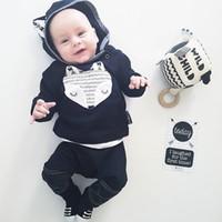 conjunto de jumper de menino venda por atacado-2018 INS infantil bebê meninos menina fox impressão com capuz jumper top com correspondência de calças compridas 2 pcs ternos conjuntos de roupas de algodão macio recém-nascidos conjuntos
