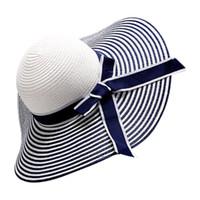 Berretto a tesa larga bianca nera bowknot donna ragazza cappello estivo tesa  larga a treccia 97366dd045b0
