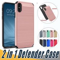 Wholesale mint brushes - 2 in 1 Case Shockproof Brushed Back Cover Armor Case For iPhoen X 8 7 6 6S Plus 5 5S SE Sumsung Note8 S9 S8 S7 Plus