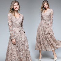 9e4e073eed20 Maxi Lace Dresses Women Formal Prom Evening Ball Gowns for Party Long  Sleeve with Belt Elegant Vintage Long Dress